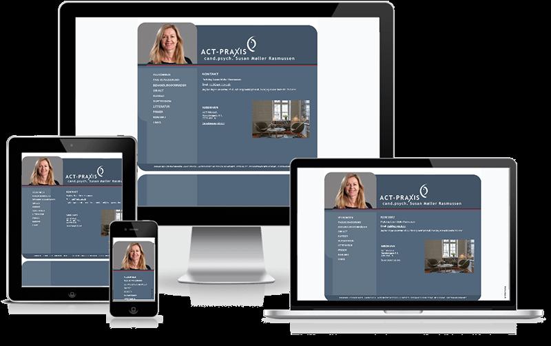Hjemmeside designet til psykolog Susan Møller rasmussen - ACT-Praxis - København