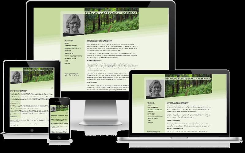 Hjemmeside designet til psykolog Ulla Søgaard - Aabenraa