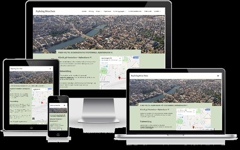 Hjemmeside designet til psykolog Nina Dam, Vesterbro - København
