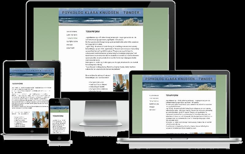 Hjemmeside designet til psykolog Klare Knudsen - Tønder
